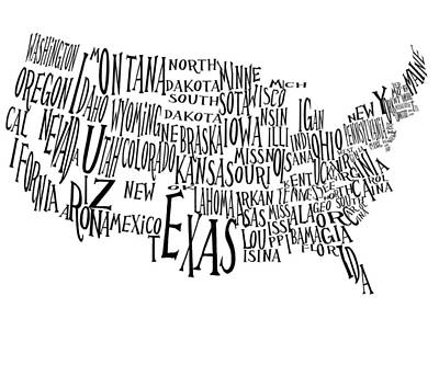The United States Text Map Art Print