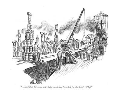 Pyramid Drawing - . . . And Then For Three Years Before Enlisting by Alan Dunn