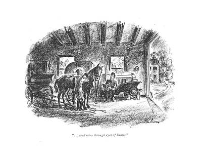 Man Reading Drawing - . . . Lead Reins Through Eyes Of Hames by Alan Dunn