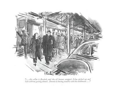 Train Station Drawing - . . . The Cellar Is ?ooded by Perry Barlow