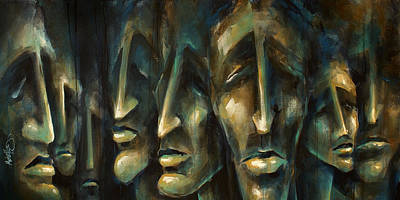 Faces Painting -  ' Jury Of Eight ' by Michael Lang