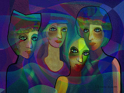 Girlfriend Digital Art -  027 - Sisters  Blue   by Irmgard Schoendorf Welch