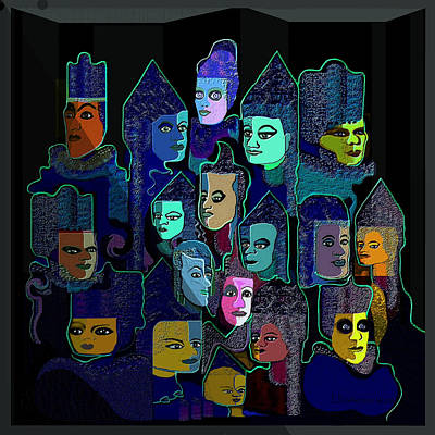 067 - Pyramid Of Faces Art Print