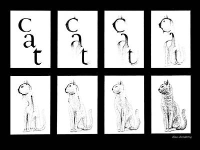 # 1 Cat Portrait. Art Print by Alan Armstrong