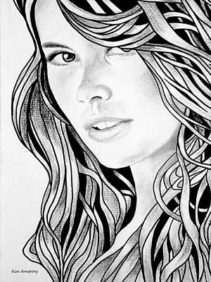 Super Girl Drawing - # 1 Cludia Schiffer Portrait by Alan Armstrong