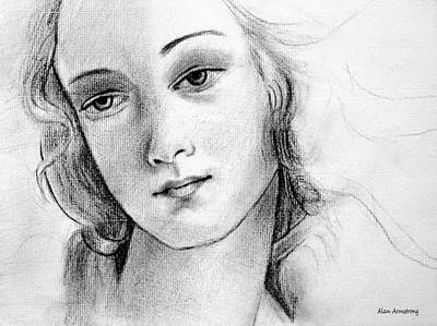 Simonetta Vespucci Drawing - # 1 Simonetta Vespucci Portrait. by Alan Armstrong