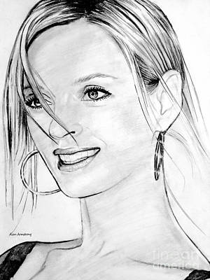 Super Girl Drawing - # 1 Uma Thurman Portrait by Alan Armstrong