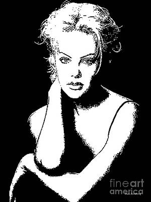 Actress Digital Art - # 10 Charlize Theron Portrait by Alan Armstrong