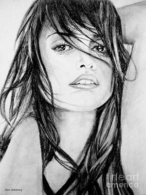 Film Drawing - # 13 Penelope Cruz Portrait. by Alan Armstrong