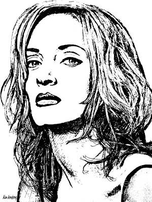 Super Girl Drawing - # 14 Uma Thurman Portrait by Alan Armstrong