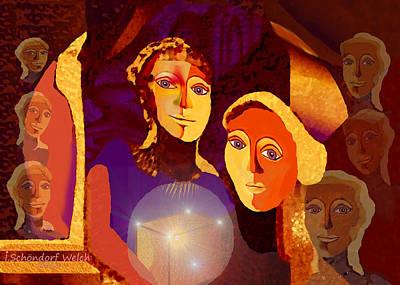 Two Ladies Painting -  152 - Pandora  Magic  Box  by Irmgard Schoendorf Welch