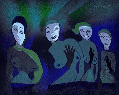 155 - Blue Ladies -1- Print by Irmgard Schoendorf Welch