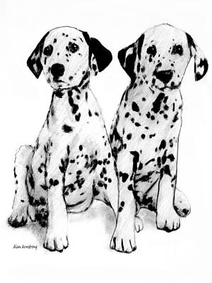 Dalmation Drawing - # 18 Dalmation Puppies by Alan Armstrong
