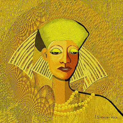 Gold Necklace Painting -  189 Metallic Woman Golden Pearls by Irmgard Schoendorf Welch