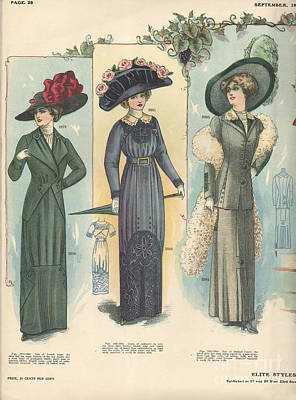 Nineteen-tens Drawing -  1910 1910s Usa Womens Hats by The Advertising Archives