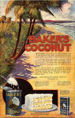 Nineteen-tens Drawing -  1910s Usa Bakers Coconuts Cakes Baking by The Advertising Archives