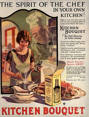 Nineteen-tens Drawing -  1910s Usa Cooking Kitchens Bouquets by The Advertising Archives