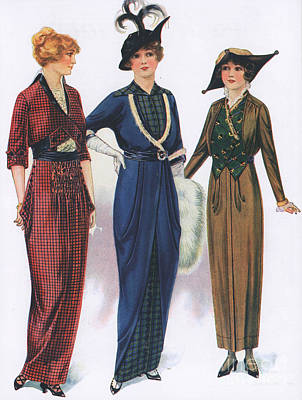 Nineteen-tens Drawing -  1910s Usa Womens Hats Dresses by The Advertising Archives