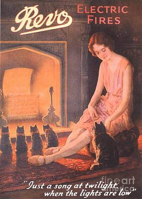 1920s Uk Fires Cats Revo  Appliances Art Print by The Advertising Archives