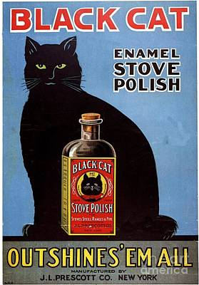 Nineteen Twenties Drawing -  1920s Usa Cats Black Cat Enamel Stove by The Advertising Archives