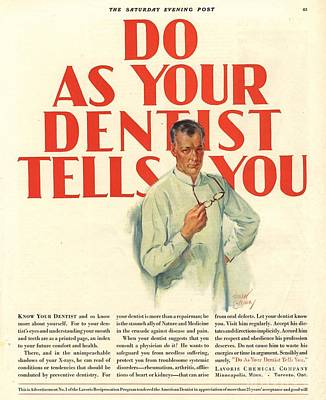 Nineteen Twenties Drawing -  1920s Usa Dentists Lavoris by The Advertising Archives
