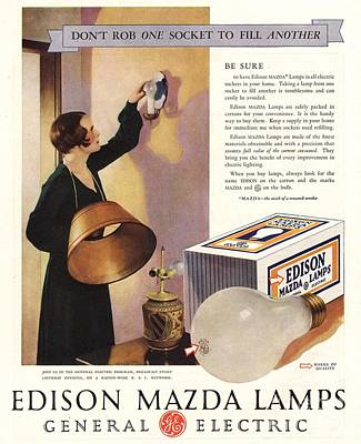 1920s Usa Edison Mazda Lamps General Art Print by The Advertising Archives
