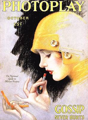 1920s Usa Photoplay Lipsticks Putting Art Print by The Advertising Archives