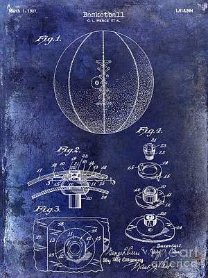 Conversing Photograph -  1927 Basketball Patent Drawing Blue by Jon Neidert