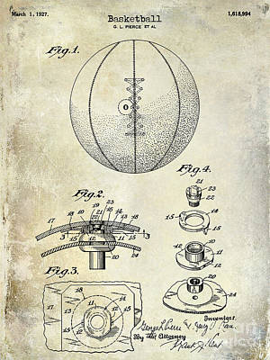 Vintage Shoes Photograph -  1927 Basketball Patent Drawing by Jon Neidert