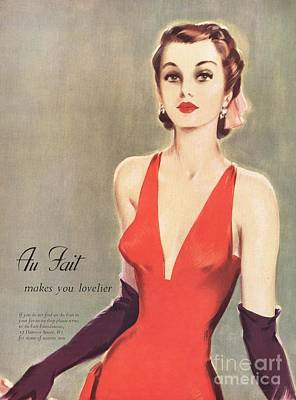 1940s Uk Au Fait Womens Dresses Gloves Art Print by The Advertising Archives