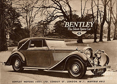 Nineteen Forties Drawing -  1940s Uk Bentley Sports Cars by The Advertising Archives