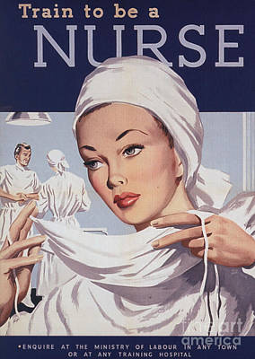 World War 2 Drawing -  1940s Uk Nurses Recruitment World War by The Advertising Archives