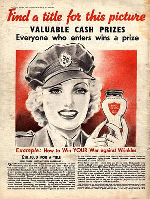 World War 2 Drawing -  1940s Uk Skin Care Antiageing Anti by The Advertising Archives
