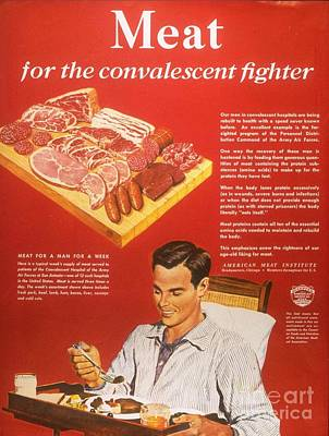 Nineteen-forties Drawing -  1940s Usa Convalescents Meat Eating by The Advertising Archives