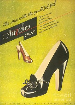 Nineteen-forties Drawing -  1940s Usa Womens Shoes by The Advertising Archives