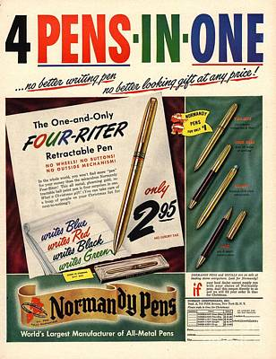 Drawing -  1948 1940s Usa Pens Pencils Normandy by The Advertising Archives