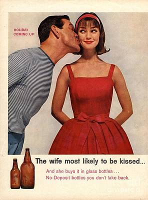 Drawing -  1950s Usa Kissing Sexism by The Advertising Archives