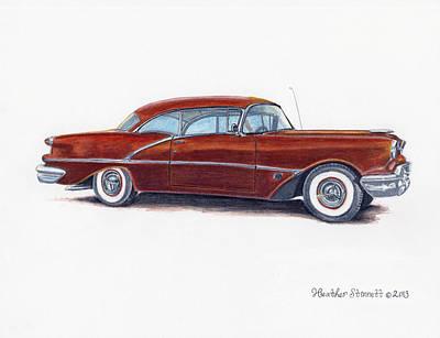 Super Cars Drawing -  1956 Oldsmobile Super 88 by Heather Stinnett