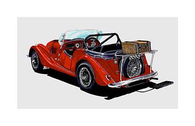British Classic Cars Painting -  Morgan 4 Plus 4 1961 by Jack Pumphrey
