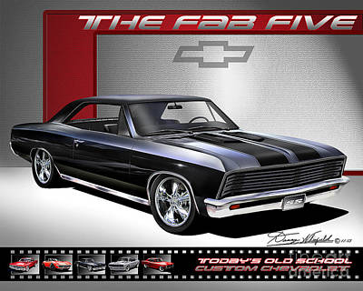 Muscle Cars Drawing -  1967 Chevrolet Chevelle Custom The Fab Five by Danny Whitfield
