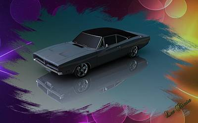 Digital Art -  1969 Dodge Charger by Louis Ferreira