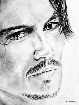 Film Drawing - # 2 Johnny Depp Portrait. by Alan Armstrong