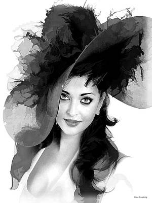 Amitabh Digital Art - # 3 Aishwarya Rai Portrait by Alan Armstrong