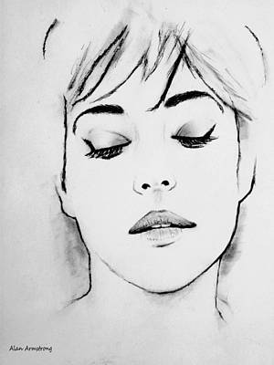 Hollywood Drawing - # 3 Monica Bellucci Portrait by Alan Armstrong