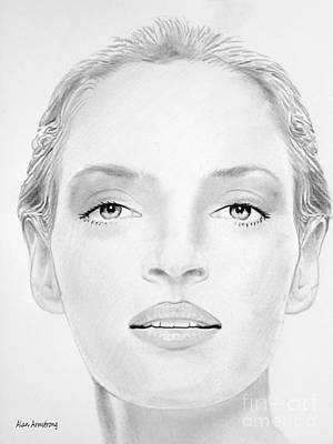 Super Girl Drawing - # 3 Uma Thurman Portrait by Alan Armstrong
