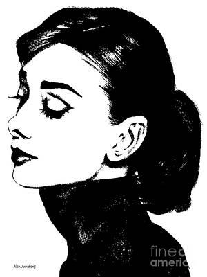 Audrey Hepburn Digital Art - # 4 Audrey Hepburn Portrait. by Alan Armstrong