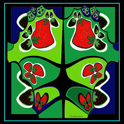 Digital Art -  493 - Strawberry Wild  by Irmgard Schoendorf Welch