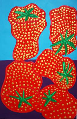 5 Big Strawberries Art Print by Matthew Brzostoski