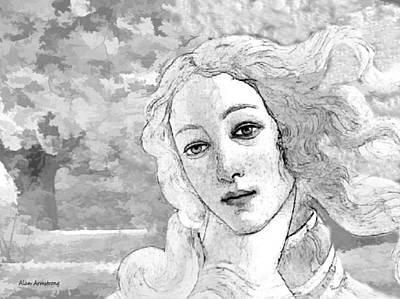 Simonetta Vespucci Digital Art - # 5 Simonetta Vespucci Portrait by Alan Armstrong