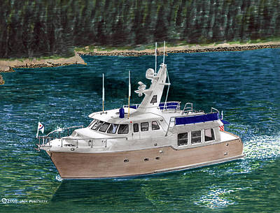 Note Card Painting -  50 Nordhavn Trawler Yacht by Jack Pumphrey